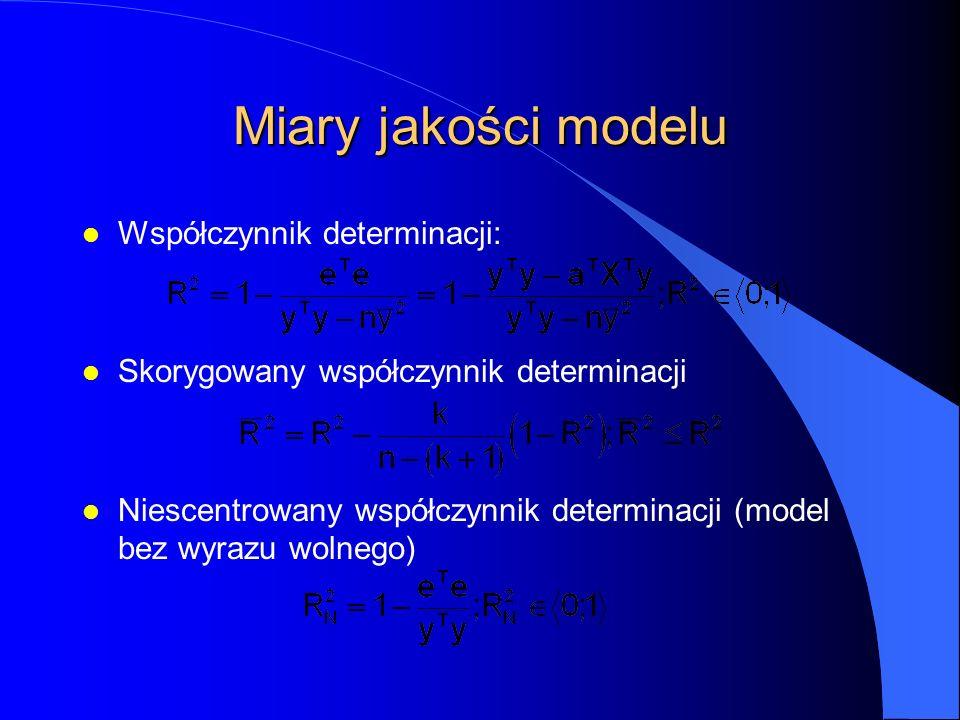 Miary jakości modelu l Współczynnik determinacji: l Skorygowany współczynnik determinacji l Niescentrowany współczynnik determinacji (model bez wyrazu wolnego)