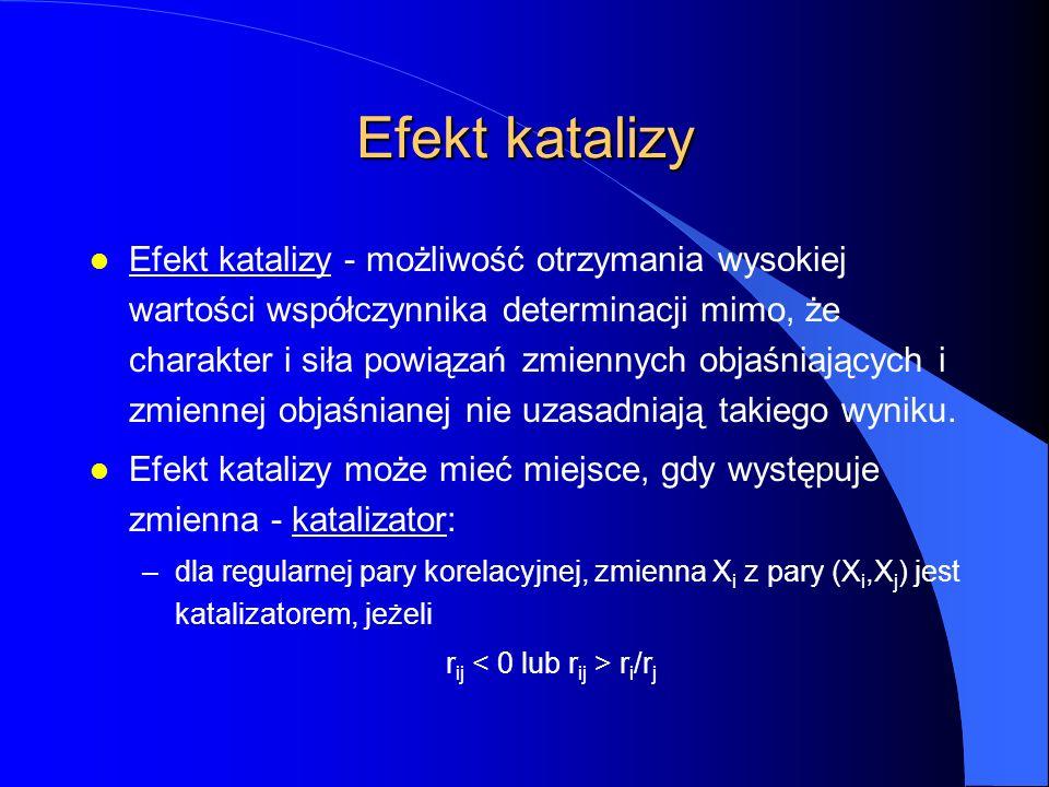 Efekt katalizy l Efekt katalizy - możliwość otrzymania wysokiej wartości współczynnika determinacji mimo, że charakter i siła powiązań zmiennych objaśniających i zmiennej objaśnianej nie uzasadniają takiego wyniku.