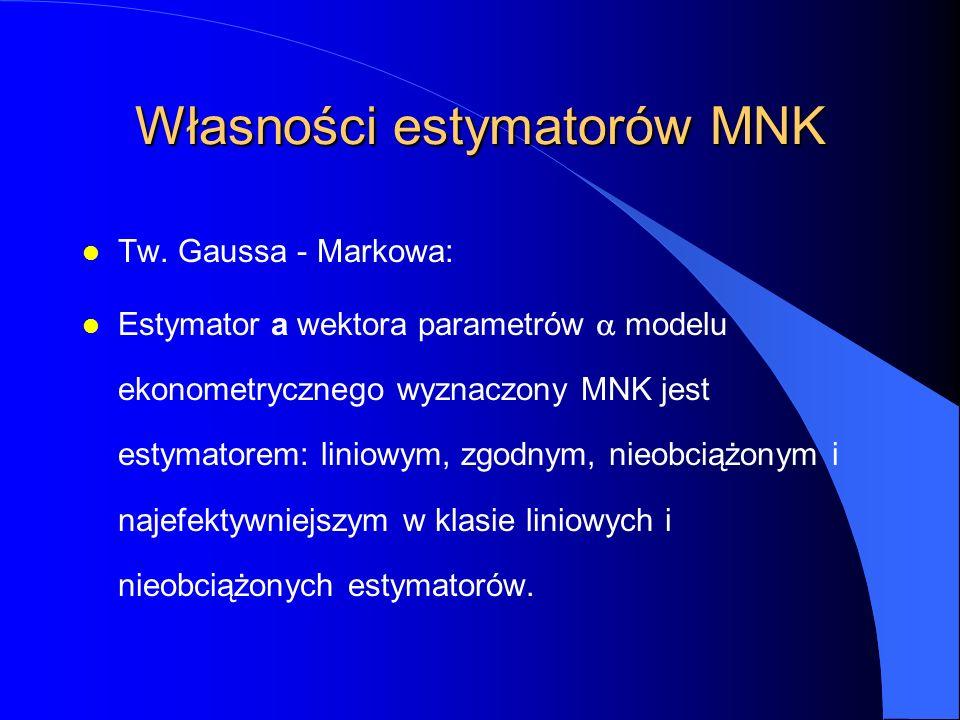 Własności estymatorów MNK l Tw. Gaussa - Markowa: Estymator a wektora parametrów  modelu ekonometrycznego wyznaczony MNK jest estymatorem: liniowym,
