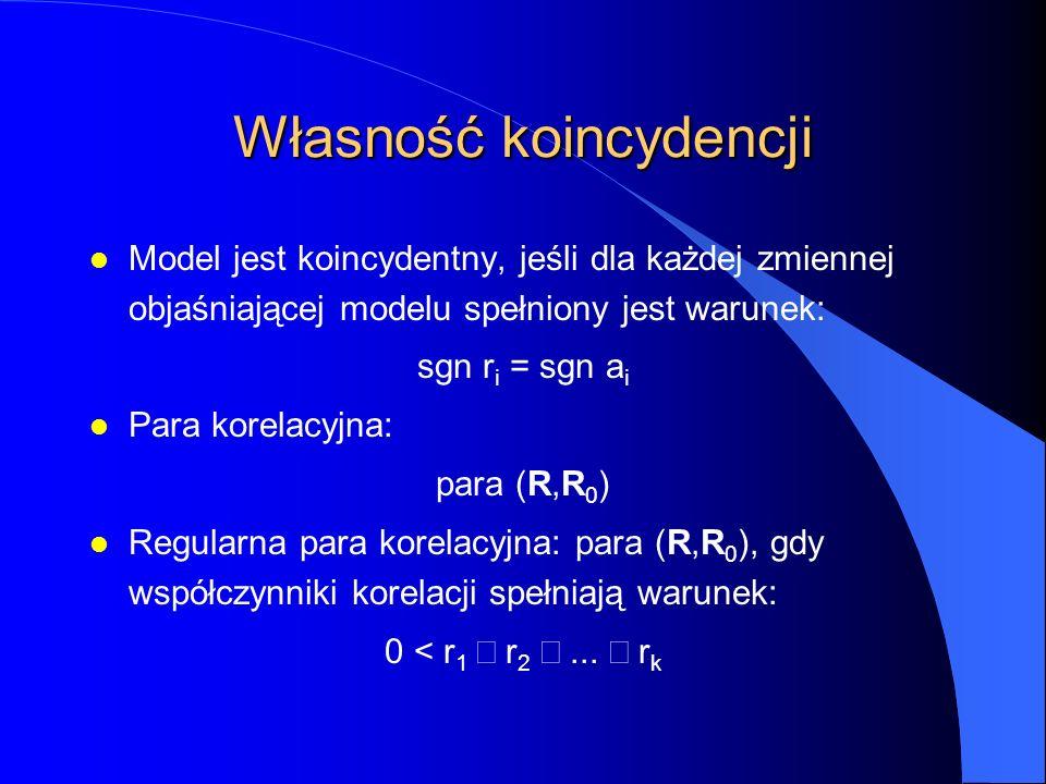 Własność koincydencji l Model jest koincydentny, jeśli dla każdej zmiennej objaśniającej modelu spełniony jest warunek: sgn r i = sgn a i l Para korelacyjna: para (R,R 0 ) l Regularna para korelacyjna: para (R,R 0 ), gdy współczynniki korelacji spełniają warunek: 0 < r 1  r 2 ...