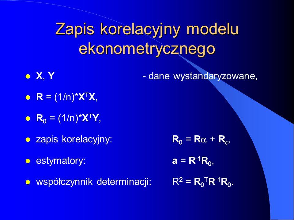 Zapis korelacyjny modelu ekonometrycznego l X, Y- dane wystandaryzowane, l R = (1/n)*X T X, l R 0 = (1/n)*X T Y, zapis korelacyjny:R 0 = R  + R , l