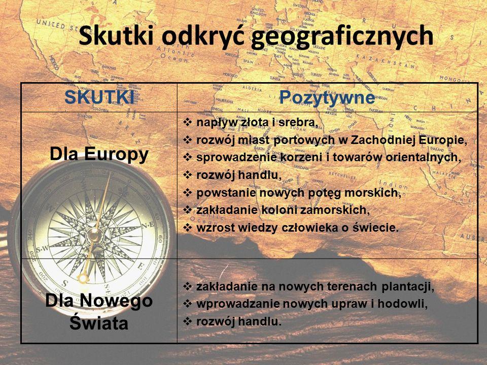 Skutki odkryć geograficznych SKUTKIPozytywne Dla Europy  napływ złota i srebra,  rozwój miast portowych w Zachodniej Europie,  sprowadzenie korzeni