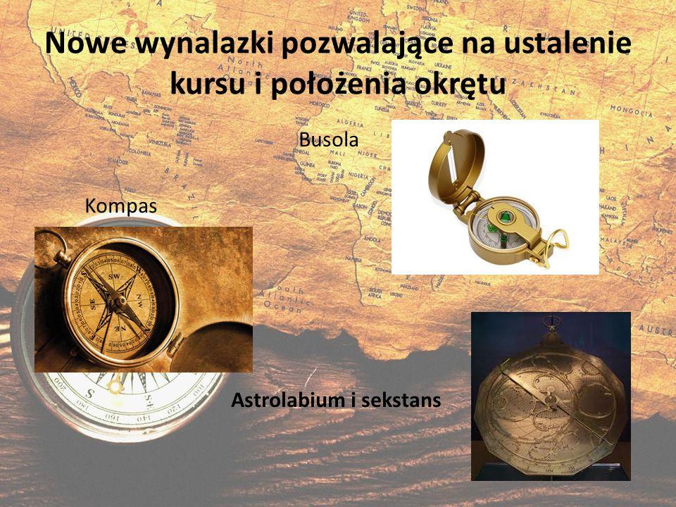 Nowe wynalazki pozwalające na ustalenie kursu i położenia okrętu Busola Kompas Astrolabium i sekstans