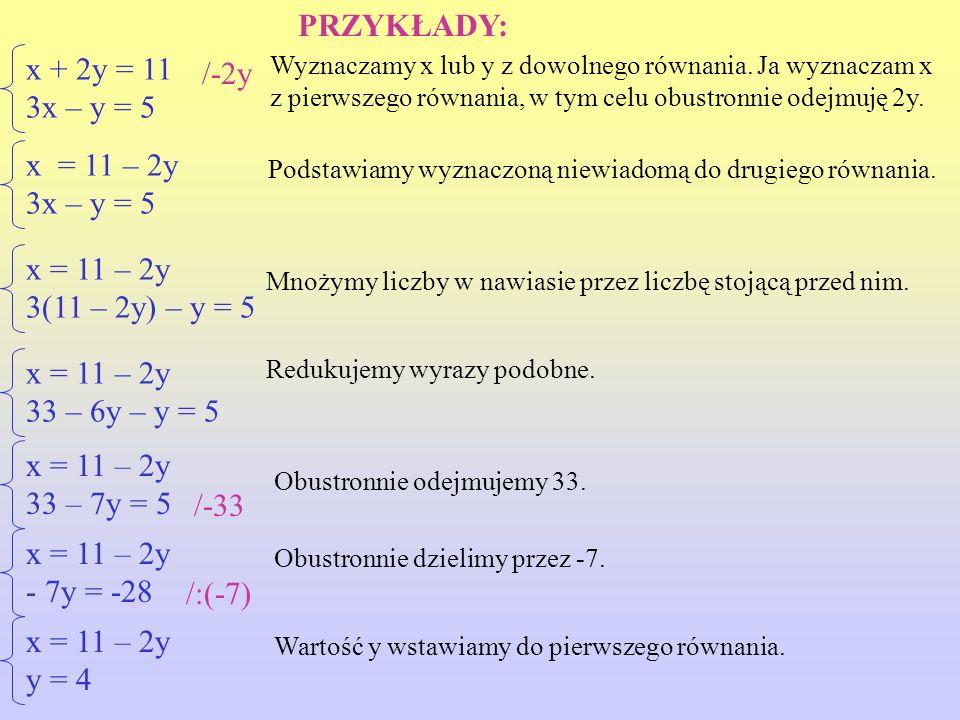 x + 2y = 11 3x – y = 5 x = 11 – 2y 3x – y = 5 x = 11 – 2y - 7y = -28 x = 11 – 2y 3(11 – 2y) – y = 5 x = 11 – 2y 33 – 6y – y = 5 x = 11 – 2y 33 – 7y = 5 Wyznaczamy x lub y z dowolnego równania.