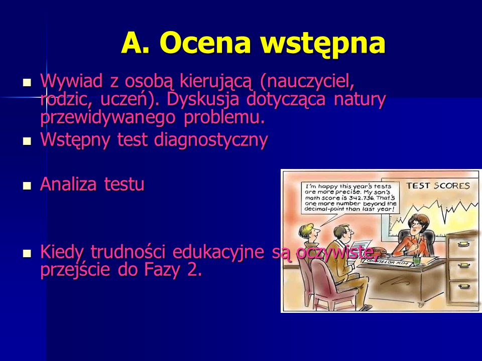 A. Ocena wstępna Wywiad z osobą kierującą (nauczyciel, rodzic, uczeń).