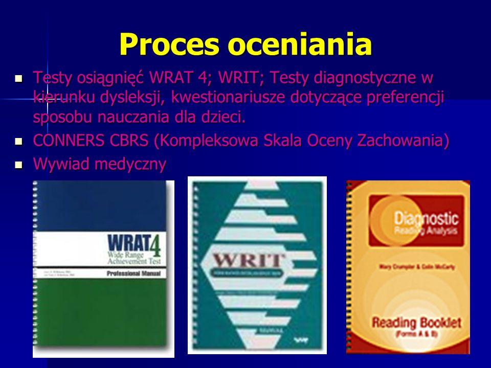 Proces oceniania Testy osiągnięć WRAT 4; WRIT; Testy diagnostyczne w kierunku dysleksji, kwestionariusze dotyczące preferencji sposobu nauczania dla dzieci.