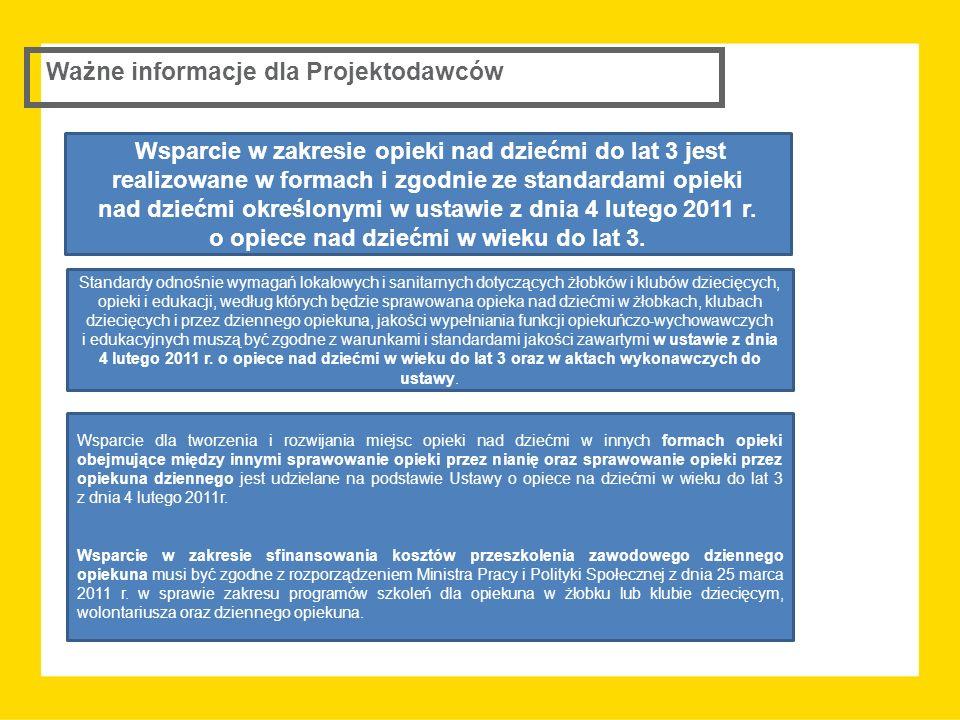 Ważne informacje dla Projektodawców Wsparcie w zakresie opieki nad dziećmi do lat 3 jest realizowane w formach i zgodnie ze standardami opieki nad dziećmi określonymi w ustawie z dnia 4 lutego 2011 r.