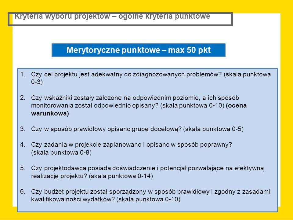 Kryteria wyboru projektów – ogólne kryteria punktowe Merytoryczne punktowe – max 50 pkt 1.Czy cel projektu jest adekwatny do zdiagnozowanych problemów