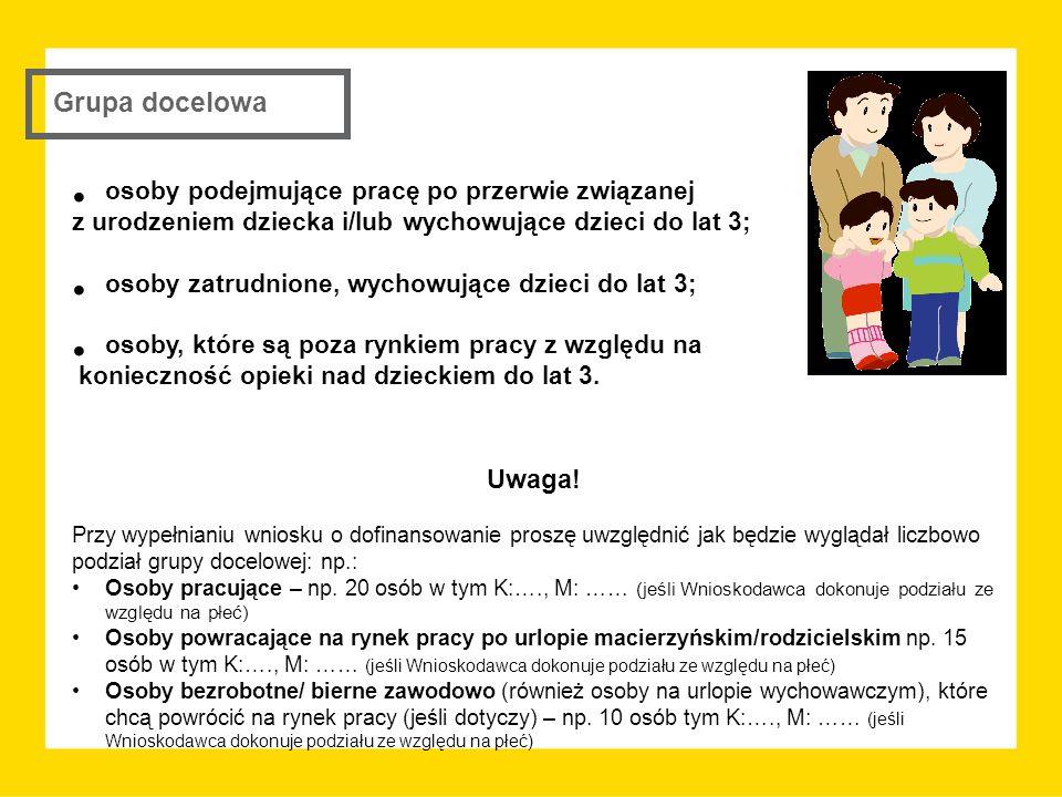 Grupa docelowa osoby podejmujące pracę po przerwie związanej z urodzeniem dziecka i/lub wychowujące dzieci do lat 3; osoby zatrudnione, wychowujące dz