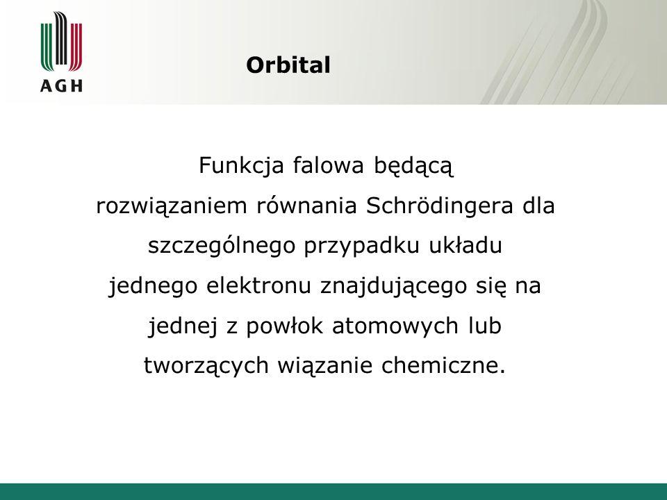 Orbital Funkcja falowa będącą rozwiązaniem równania Schrödingera dla szczególnego przypadku układu jednego elektronu znajdującego się na jednej z powłok atomowych lub tworzących wiązanie chemiczne.