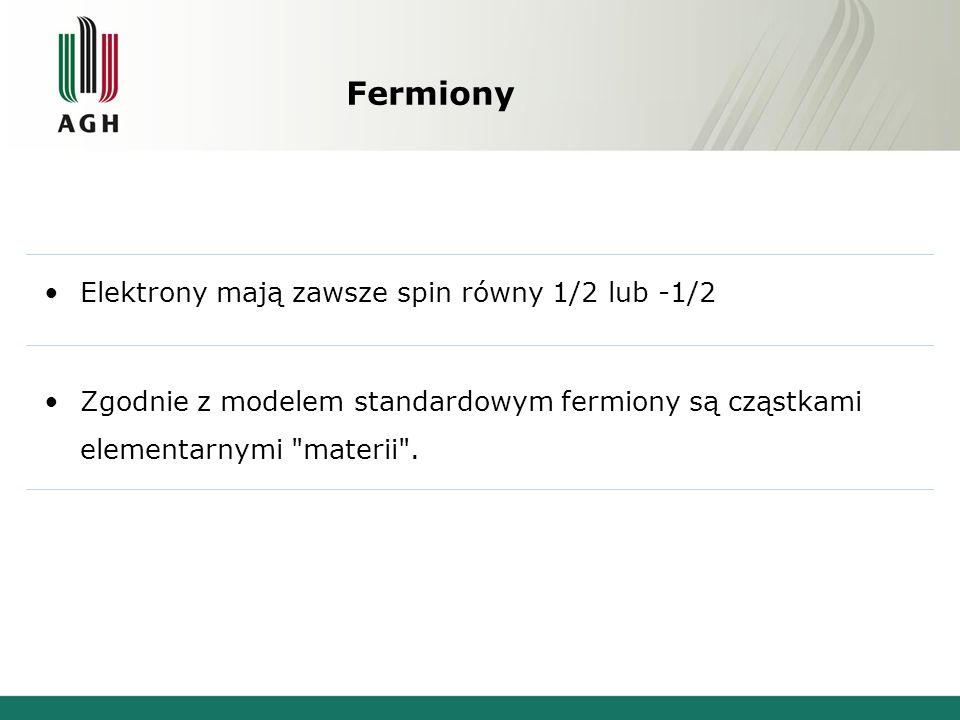 Fermiony Elektrony mają zawsze spin równy 1/2 lub -1/2 Zgodnie z modelem standardowym fermiony są cząstkami elementarnymi