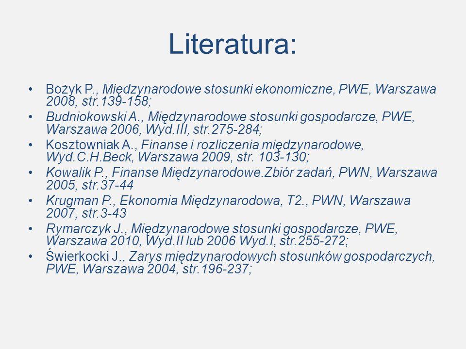Literatura: Bożyk P., Międzynarodowe stosunki ekonomiczne, PWE, Warszawa 2008, str.139-158; Budniokowski A., Międzynarodowe stosunki gospodarcze, PWE, Warszawa 2006, Wyd.III, str.275-284; Kosztowniak A., Finanse i rozliczenia międzynarodowe, Wyd.C.H.Beck, Warszawa 2009, str.