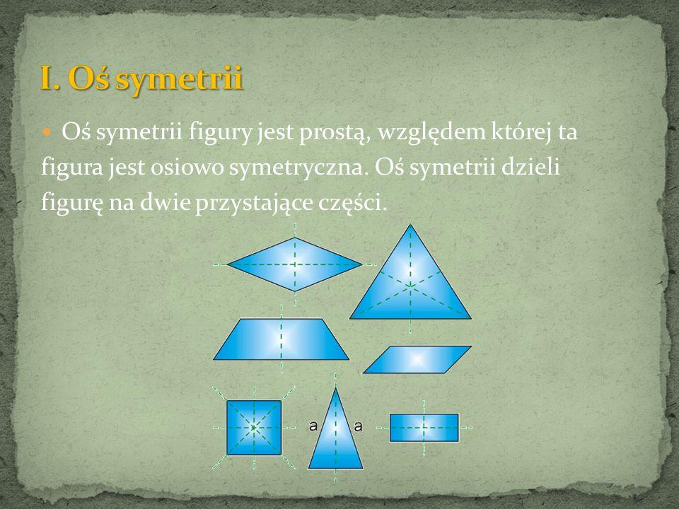 Oś symetrii figury jest prostą, względem której ta figura jest osiowo symetryczna. Oś symetrii dzieli figurę na dwie przystające części.