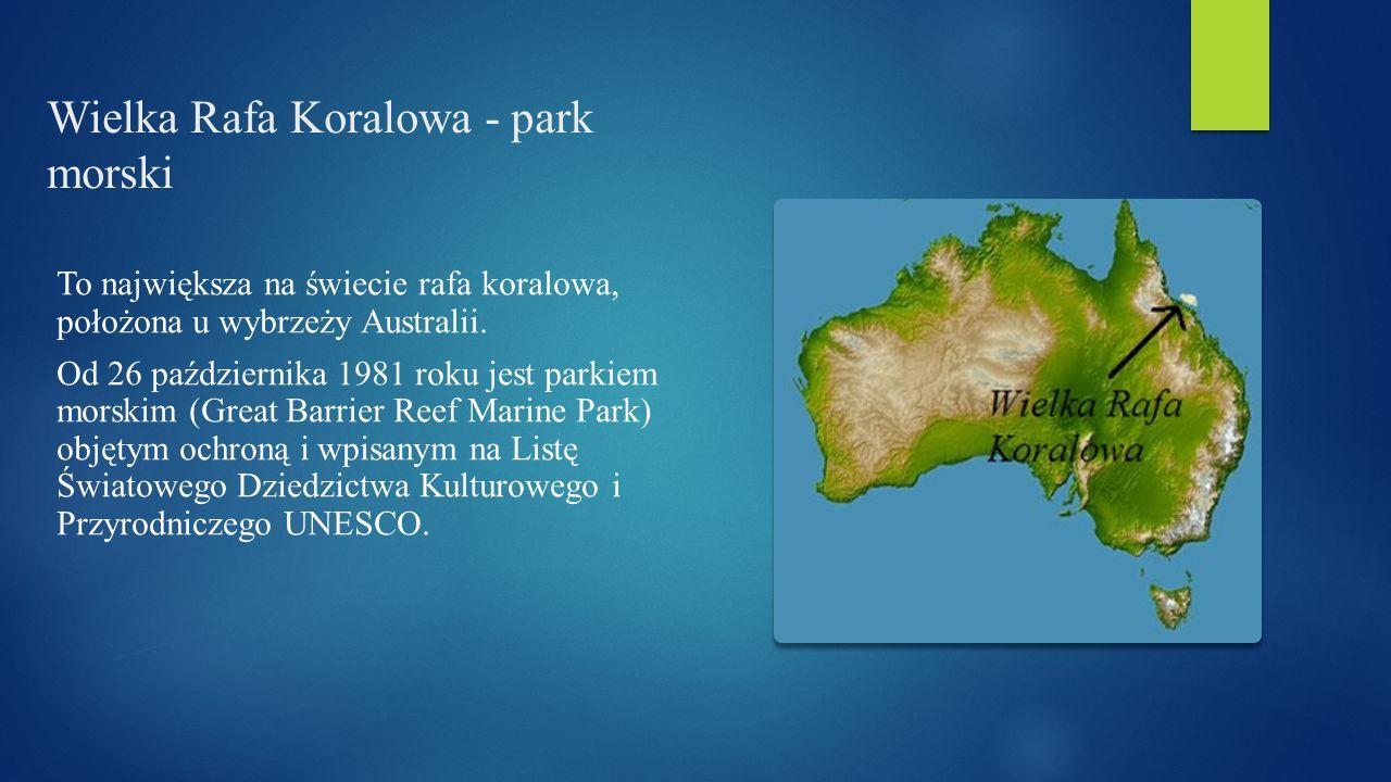 Wielka Rafa Koralowa - park morski To największa na świecie rafa koralowa, położona u wybrzeży Australii. Od 26 października 1981 roku jest parkiem mo
