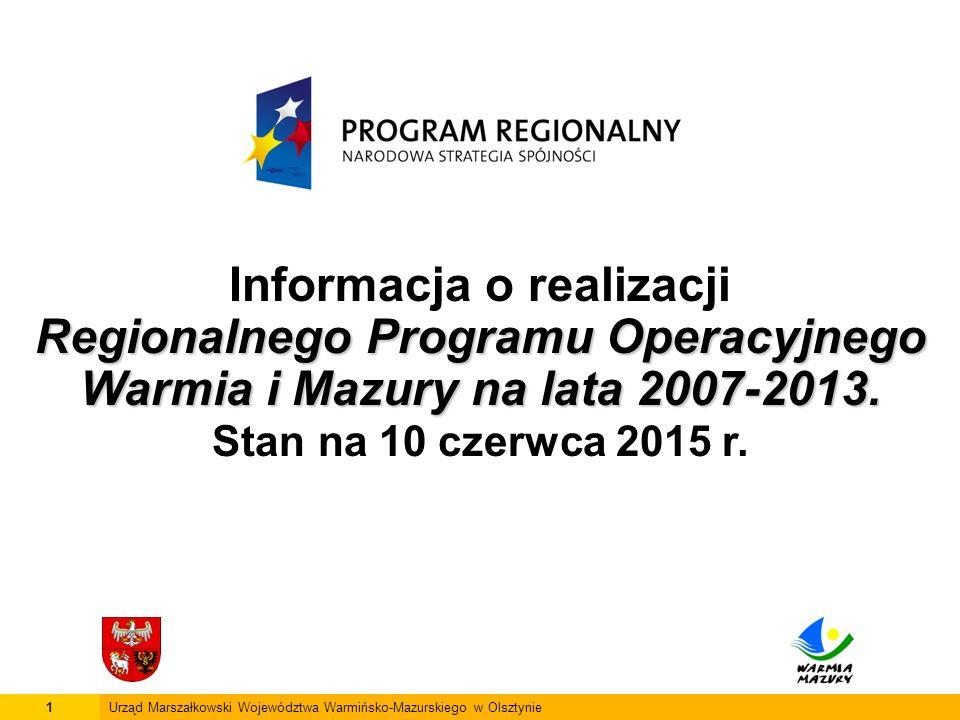 1Urząd Marszałkowski Województwa Warmińsko-Mazurskiego w Olsztynie Informacja o realizacji Regionalnego Programu Operacyjnego Warmia i Mazury na lata 2007-2013.