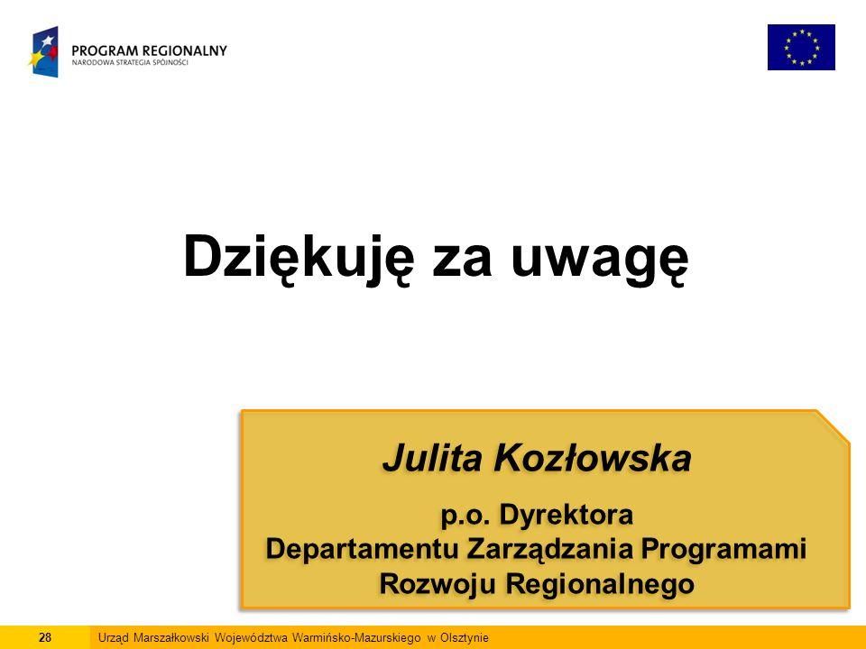 28Urząd Marszałkowski Województwa Warmińsko-Mazurskiego w Olsztynie Dziękuję za uwagę Julita Kozłowska p.o.