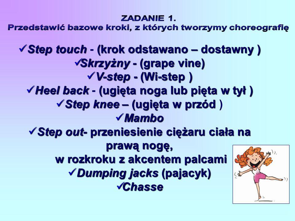 Step touch(krok odstawano – dostawny) Step touch - (krok odstawano – dostawny ) Skrzyżny - (grape vine) Skrzyżny - (grape vine) V-step - (Wi-step) V-step - (Wi-step ) Heel back (ugięta noga lub pięta w tył) Heel back - (ugięta noga lub pięta w tył ) Step knee – (ugięta w przód Step knee – (ugięta w przód ) Mambo Mambo Step out- przeniesienie ciężaru ciała na prawą nogę, Step out- przeniesienie ciężaru ciała na prawą nogę, w rozkroku z akcentem palcami w rozkroku z akcentem palcami Dumping jacks(pajacyk) Dumping jacks (pajacyk) Chasse Chasse