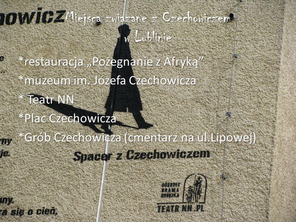 """Miejsca zwiazane z Czechowiczem w Lublinie *restauracja """"Pożegnanie z Afryką *muzeum im."""