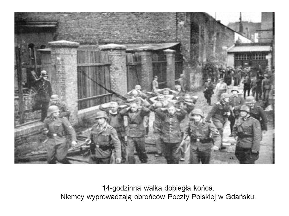 14-godzinna walka dobiegła końca. Niemcy wyprowadzają obrońców Poczty Polskiej w Gdańsku.