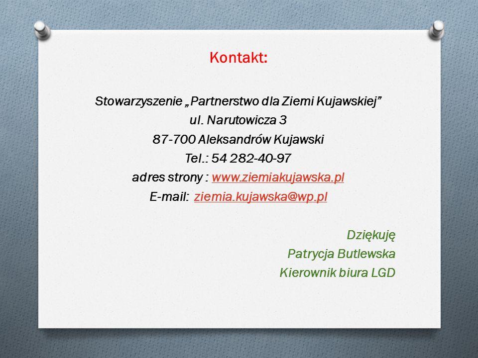 """Kontakt: Stowarzyszenie """"Partnerstwo dla Ziemi Kujawskiej ul."""