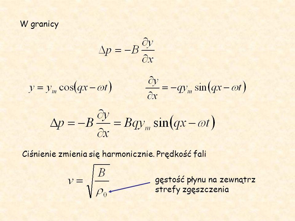 W granicy Ciśnienie zmienia się harmonicznie.