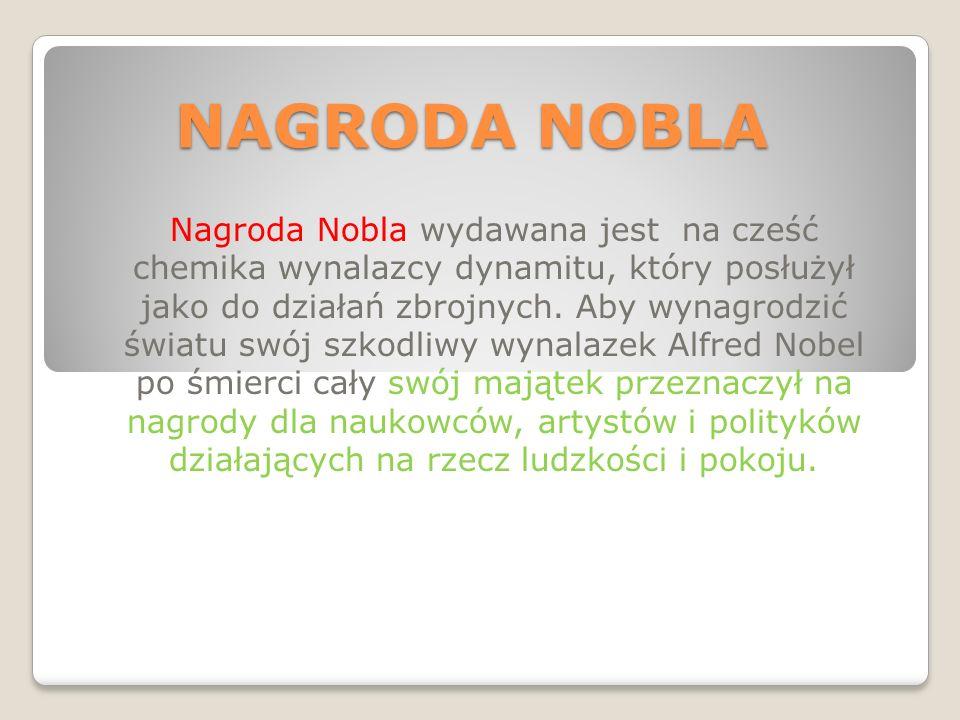 Maria Skłodowska- Curie Otrzymała Nagrodę Nobla w dziedziny chemii za odkrycie pierwiastków chemicznych- RAD i POLON.