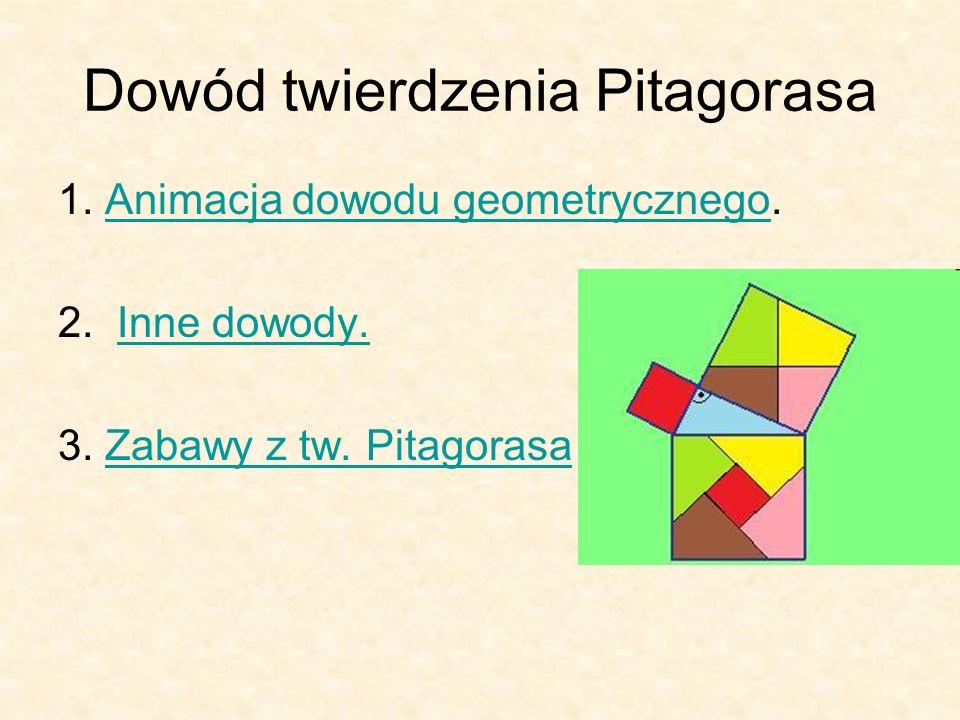Dowód twierdzenia Pitagorasa 1. Animacja dowodu geometrycznego.Animacja dowodu geometrycznego 2.