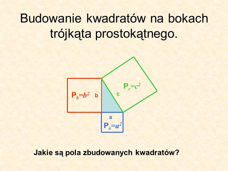 Budowanie kwadratów na bokach trójkąta prostokątnego.