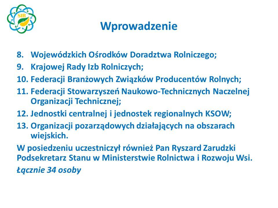 """Wprowadzenie Porządek obrad obejmował między innymi: Przedstawienie struktury Krajowej Sieci Obszarów Wiejskich i Sieci na rzecz innowacji w rolnictwie i na obszarach wiejskich (""""SIR ) w Polsce, z uwzględnieniem procedury tworzenia planu działania i planu operacyjnego."""