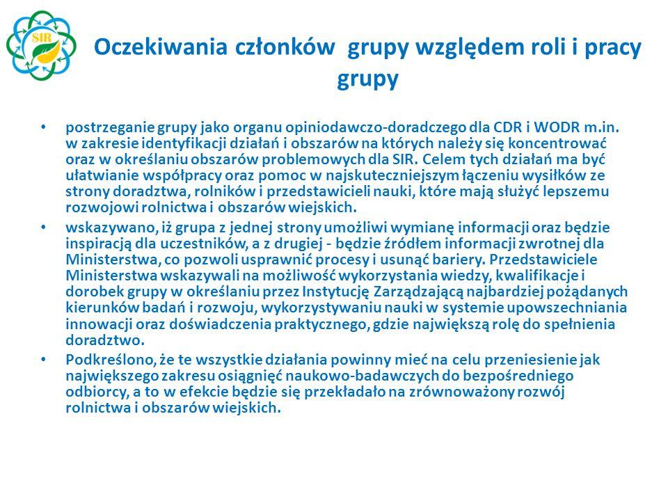 Oczekiwania członków grupy względem roli i pracy grupy postrzeganie grupy jako organu opiniodawczo-doradczego dla CDR i WODR m.in. w zakresie identyfi