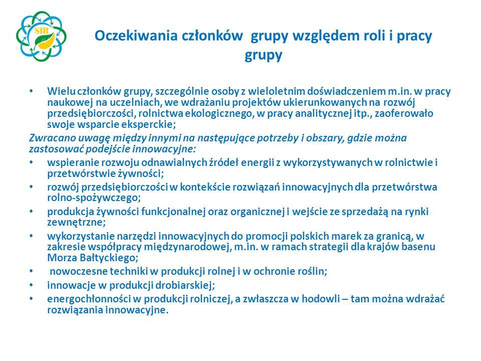 Oczekiwania członków grupy względem roli i pracy grupy Wielu członków grupy, szczególnie osoby z wieloletnim doświadczeniem m.in.