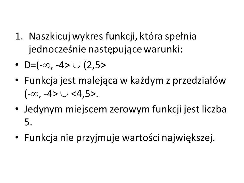 1.Naszkicuj wykres funkcji, która spełnia jednocześnie następujące warunki: D=(- , -4>  (2,5> Funkcja jest malejąca w każdym z przedziałów (- , -4> .