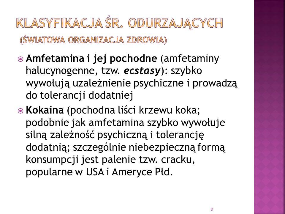  Amfetamina i jej pochodne (amfetaminy halucynogenne, tzw. ecstasy): szybko wywołują uzależnienie psychiczne i prowadzą do tolerancji dodatniej  Kok