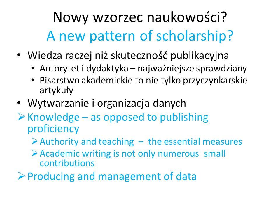 Nowy wzorzec naukowości? A new pattern of scholarship? Wiedza raczej niż skuteczność publikacyjna Autorytet i dydaktyka – najważniejsze sprawdziany Pi
