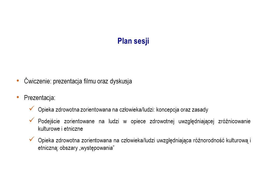 Plan sesji Ćwiczenie: prezentacja filmu oraz dyskusja Prezentacja: Opieka zdrowotna zorientowana na człowieka/ludzi: koncepcja oraz zasady Podejście z