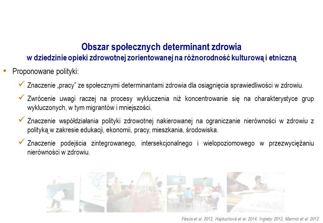 Obszar społecznych determinant zdrowia w dziedzinie opieki zdrowotnej zorientowanej na różnorodność kulturową i etniczną Proponowane polityki: Znaczen