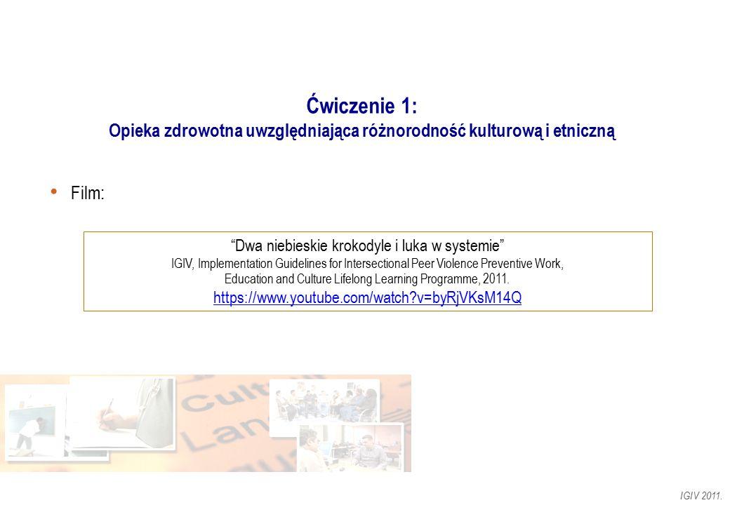 """Ćwiczenie 1: Opieka zdrowotna uwzględniająca różnorodność kulturową i etniczną Film: IGIV 2011. """"Dwa niebieskie krokodyle i luka w systemie"""" IGIV, Imp"""