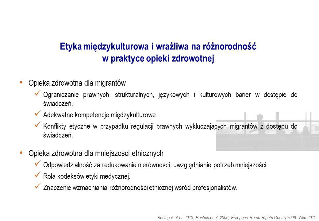 Etyka międzykulturowa i wrażliwa na różnorodność w praktyce opieki zdrowotnej Opieka zdrowotna dla migrantów Ograniczanie prawnych, strukturalnych, ję