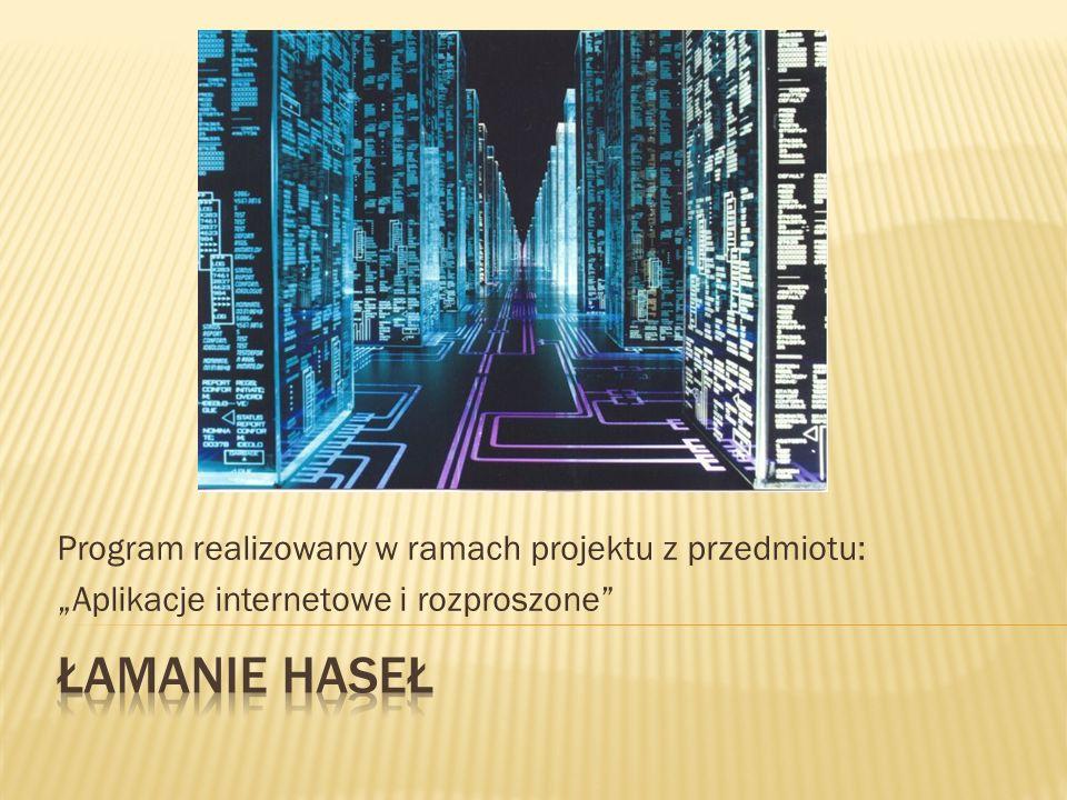 """Program realizowany w ramach projektu z przedmiotu: """"Aplikacje internetowe i rozproszone"""