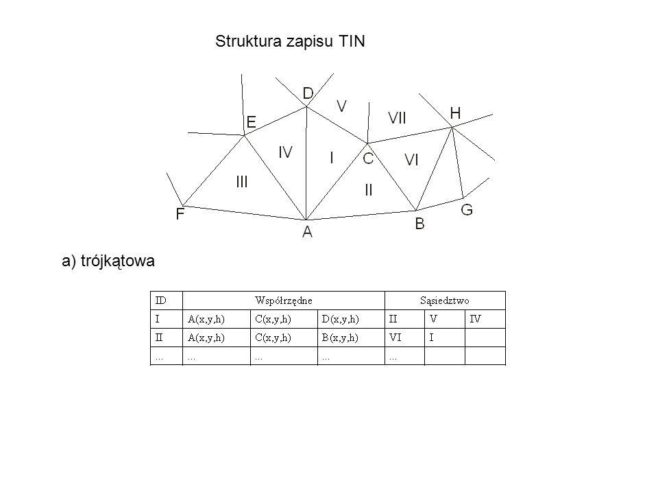 Struktura zapisu TIN a) trójkątowa