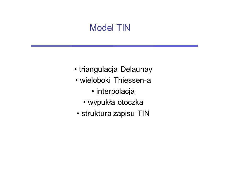TIN - Triangular Irregular Network Triangulacja – tworzenie sieci trójkątów na zbiorze punktów (2D lub 3D) Triangulacja Delaunay – tworzenie sieci trójkątów na zbiorze punktów (2D lub 3D) z warunkiem maksymalnie możliwej równoboczności trójkątów Tworzenie modelu TIN
