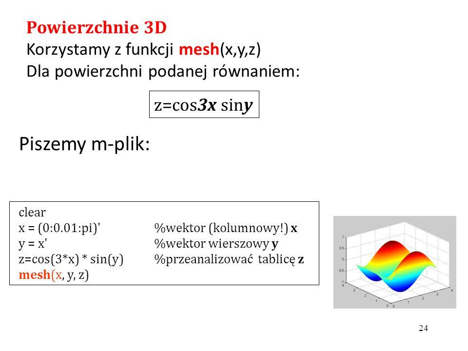 Piszemy m-plik: 24 clear x = (0:0.01:pi) %wektor (kolumnowy!) x y = x %wektor wierszowy y z=cos(3*x) * sin(y)%przeanalizować tablicę z mesh(x, y, z) z=cos3x siny Powierzchnie 3D Korzystamy z funkcji mesh(x,y,z) Dla powierzchni podanej równaniem: