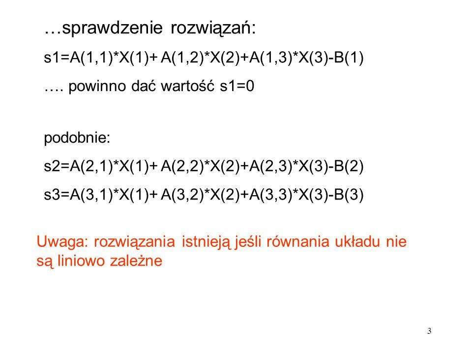 syms a b c d A=[a b; c d] A = [ a, b] [ c, d] B=[e f ; g h] B = [ e, f] [ g, h] Symboliczne operacje macierzowe il_m=A*B il_m = [ a*e+b*g, a*f+b*h] [ c*e+d*g, c*f+d*h] il_e=A.*B il_e = [ a*e, b*f] [ c*g, d*h] ilustracja iloczynów macierzy kwadratowych macierzowy Cauchy ego elementowy Hadamarda (po współrzędnych) 34