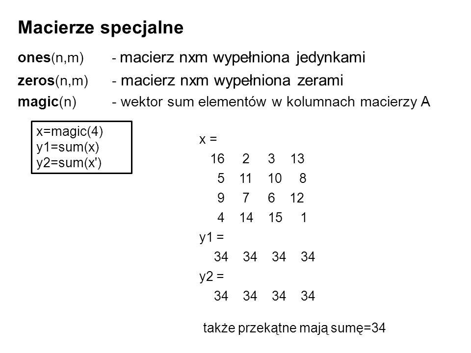 Macierze specjalne ones ( n,m) - macierz nxm wypełniona jedynkami zeros(n,m)- macierz nxm wypełniona zerami magic(n)- wektor sum elementów w kolumnach macierzy A x=magic(4) y1=sum(x) y2=sum(x ) x = 16 2 3 13 5 11 10 8 9 7 6 12 4 14 15 1 y1 = 34 34 34 34 y2 = 34 34 34 34 także przekątne mają sumę=34