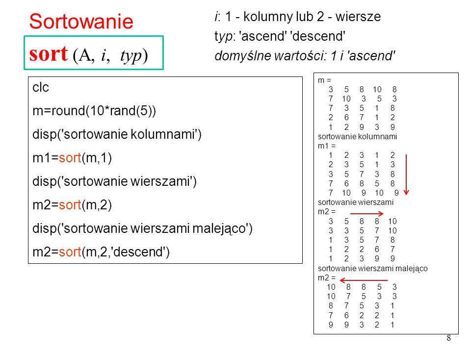 WYKRESY 2-wymiarowe x=0:10 %generowanie wektora co 1 % wart_pocz:wart_koncowa y=[5.1 1.1 -2 -3 4.2 5.5 4.3 3.1 4.5 5.9 4.9] z=[0 2 3 3 5 4 3 4 5 4 9] %trzeci wektor title( wykres )%dodanie tytułu plot(x,y) %rysowanie wykresu plot(x,y, r ,x, z, k ) %r – red k- black 1 sposób: Funkcja plot Wymaga utworzenia dwóch wektorów o tej samej liczbie elementów 19