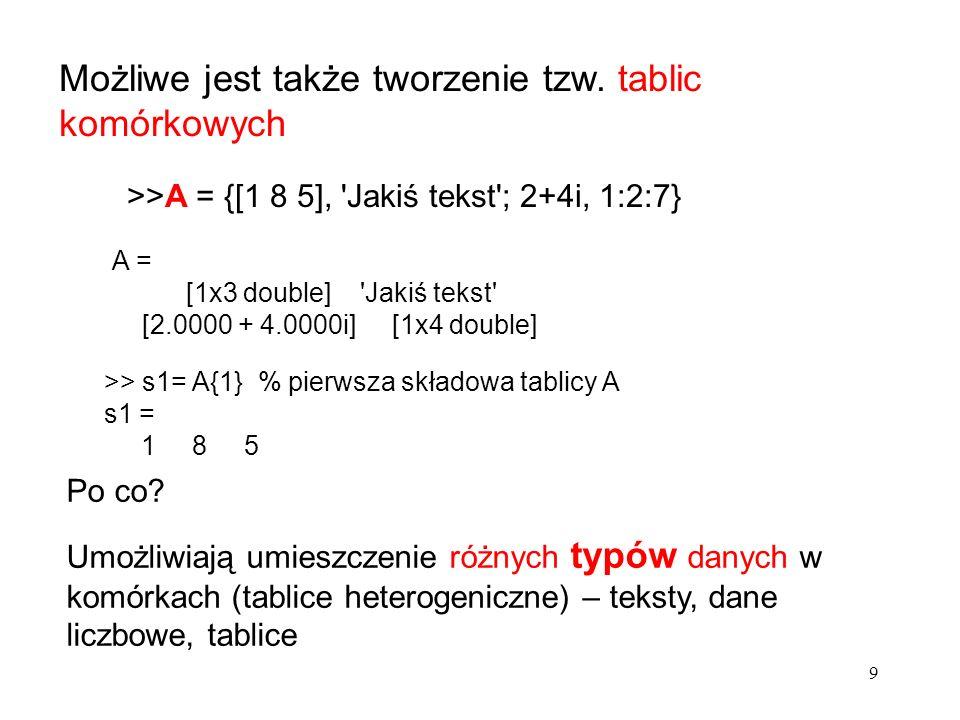 A(2:5) fragment wektora (elementy od 2-go do 5-go) A(2:end) od 2-go do końca A(1:2:end) co drugi elemet począwszy od pierwszego A(3,:) cały trzeci wiersz macierzy A A(3,2:5) trzeci wiersz macierzy A o kolumnach od drugiej do piątej A(:,2)druga kolumna macierzy A diag(A) główna przekątna macierzy A Fragmenty wektorów i macierzy dwuwymiarowych: