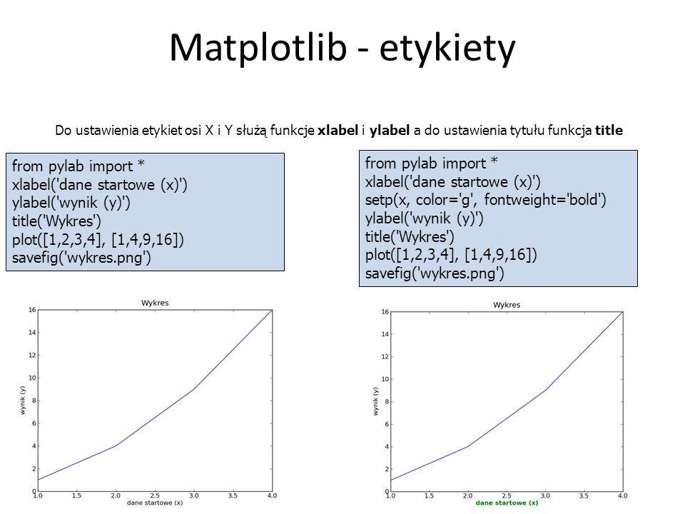 Matplotlib - etykiety 12 Do ustawienia etykiet osi X i Y służą funkcje xlabel i ylabel a do ustawienia tytułu funkcja title from pylab import * xlabel( dane startowe (x) ) ylabel( wynik (y) ) title( Wykres ) plot([1,2,3,4], [1,4,9,16]) savefig( wykres.png ) from pylab import * xlabel( dane startowe (x) ) setp(x, color= g , fontweight= bold ) ylabel( wynik (y) ) title( Wykres ) plot([1,2,3,4], [1,4,9,16]) savefig( wykres.png )