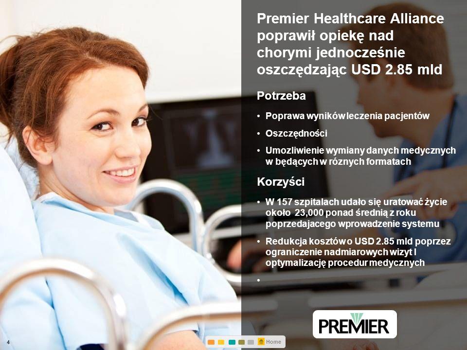 © 2012 IBM Corporation Premier Healthcare Alliance poprawił opiekę nad chorymi jednocześnie oszczędzając USD 2.85 mld Potrzeba Poprawa wyników leczenia pacjentów Oszczędności Umozliwienie wymiany danych medycznych w będących w róznych formatach Korzyści W 157 szpitalach udało się uratować życie około 23,000 ponad średnią z roku poprzedajacego wprowadzenie systemu Redukcja kosztów o USD 2.85 mld poprzez ograniczenie nadmiarowych wizyt I optymalizację procedur medycznych 4 Home