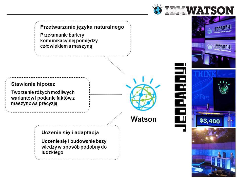 © 2012 IBM Corporation Watson Przetwarzanie języka naturalnego Stawianie hipotez Uczenie się i adaptacja Przełamanie bariery komunikacyjnej pomiędzy człowiekiem a maszyną Tworzenie różych możliwych wariantów i podanie faktów z maszynową precyzją Uczenie się i budowanie bazy wiedzy w sposób podobny do ludzkiego