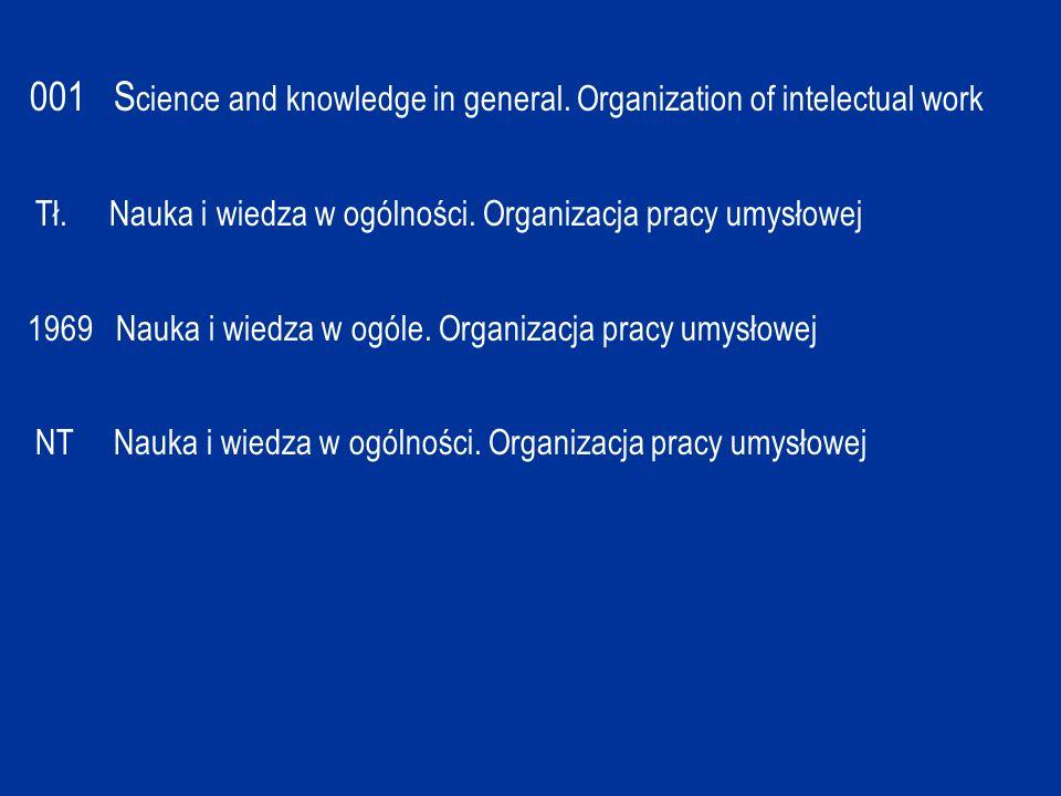001 S cience and knowledge in general. Organization of intelectual work Tł. Nauka i wiedza w ogólności. Organizacja pracy umysłowej 1969 Nauka i wiedz